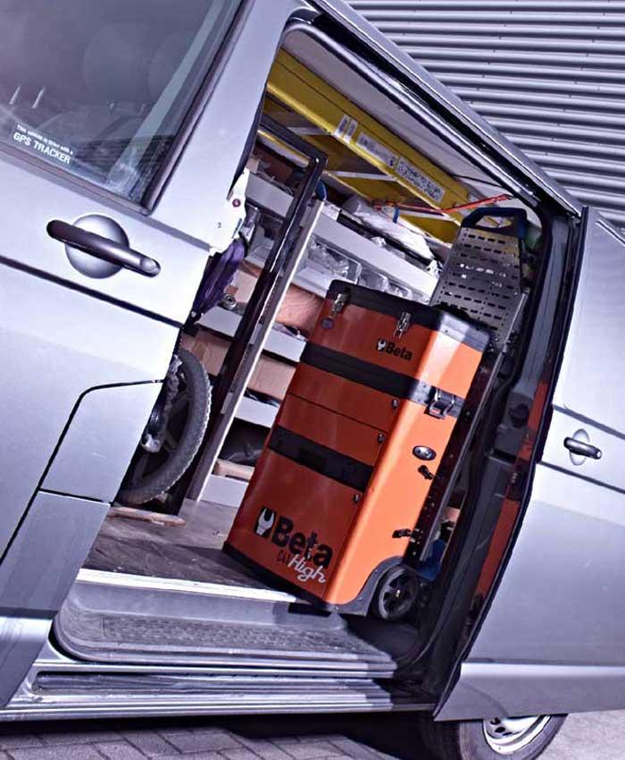 Servicing equipment van